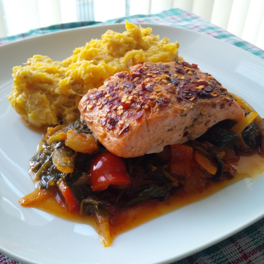 Golden Plantain Mash & Spicy Grilled Salmon