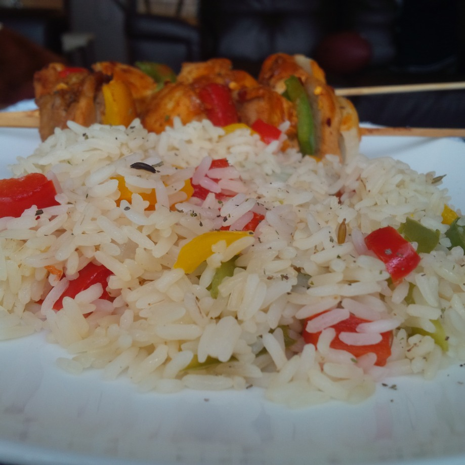 Yasmin Rice & Cajun Chicken Kebab