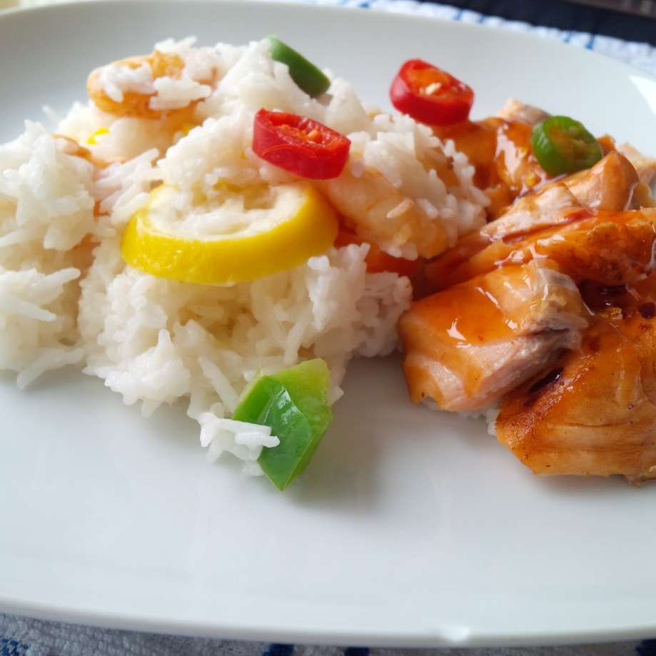 Lemon Coconut Rice & Salmon Chunks